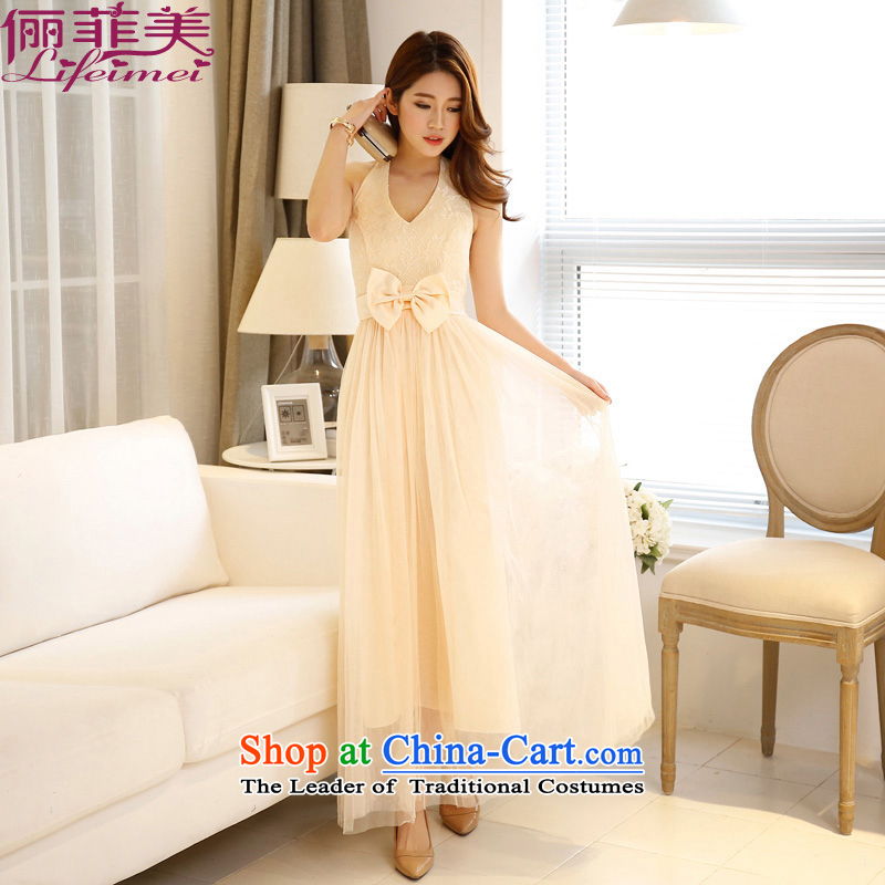 158 United States, Japan, and the ROK, Sleek and Sexy V-Neck back waist large high Sau San butterfly red gauze princess bridesmaid small dress champagne long length聽L