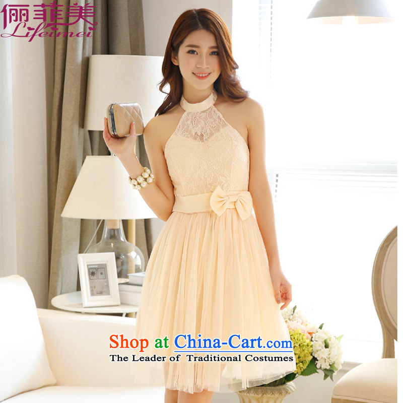 158 and 2015 fashion a bare shoulders fluoroscopy gauze sexy lovely princess skirt bridesmaid small dress dresses champagne color聽L
