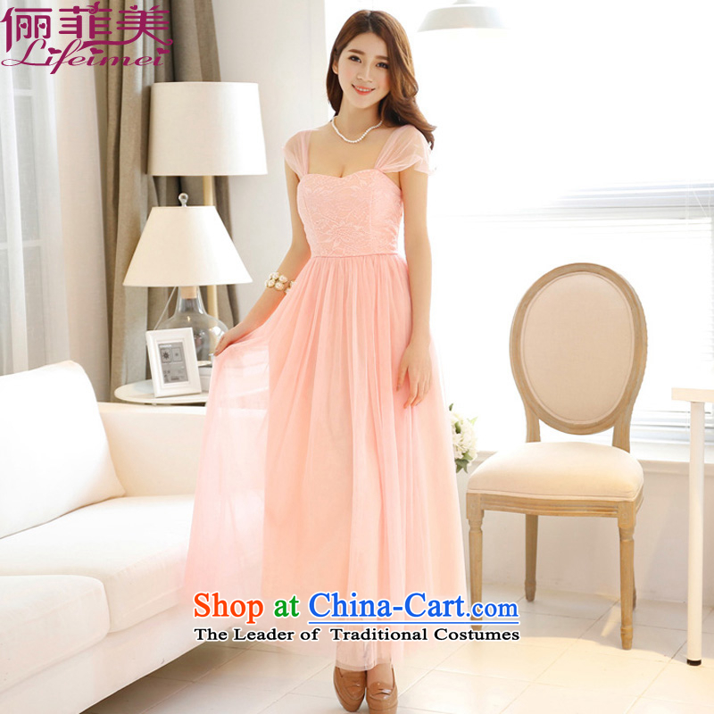 158 and the 2015 Korean fashion shoulders temperament gentlewoman gauze skirt with sister Princess dress evening performances pink dresses long