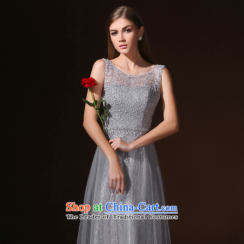 According to Lin Sha New 2015 spring_summer long gown shoulders marriages bows to diamond jewelry bridesmaid evening dress gray?M