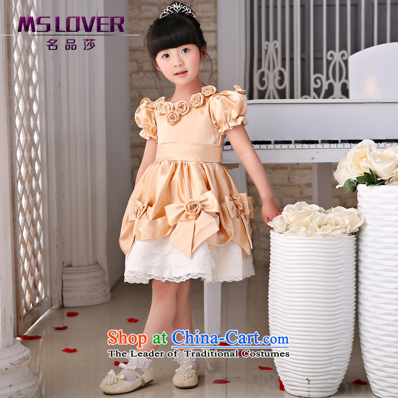 The new 2015 mslover flower girl children dance performances to dress dress wedding dress?TZ1505051?champagne color?14 yards