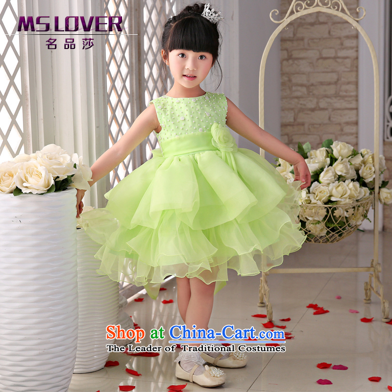 The new 2015 mslover flower girl children dance performances to dress dress wedding dress?TZ1505054?fruit green?10 Code