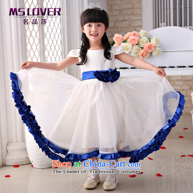 The new 2015 mslover flower girl children dance performances to dress dress wedding dress?TZ15058866?blue?14 yards