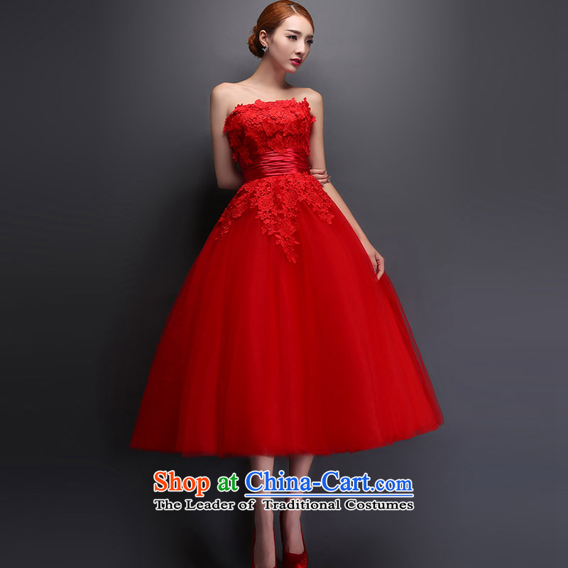 The knot True Love Mary Magdalene chest wedding dresses new 2015 Spring/Summer red lace long marriages bows service, evening dresses red?XXL