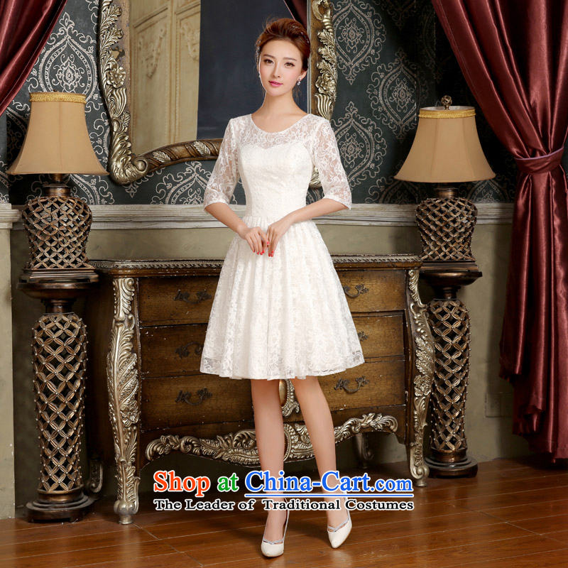 2015 new neck cuff bride bows bridesmaid services services trendy Korea version lace, thin dresses summer White?M