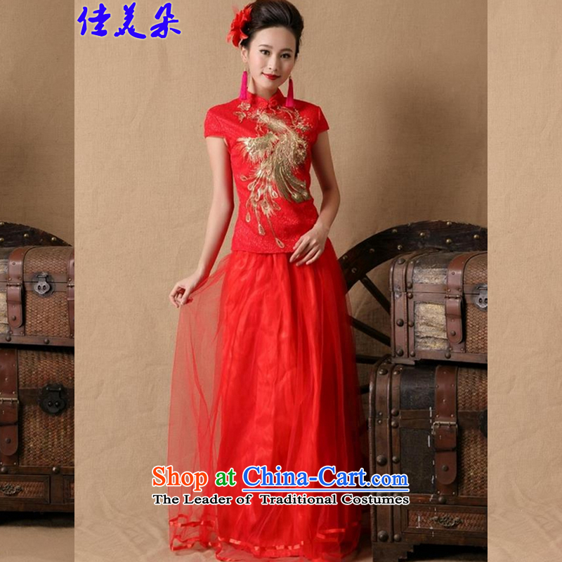 Jia Mei? 2015 flower gift cheongsam dress marriages red long bows evening dress stylish 6648_ RED?M