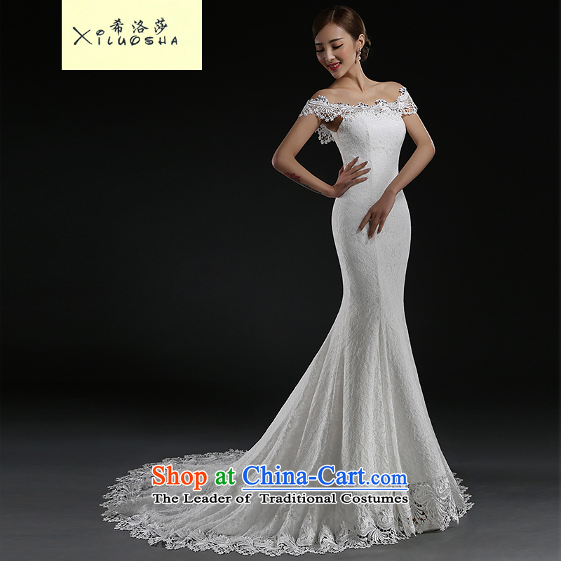 Hillo Lisa (XILUOSHA) wedding dresses the word tail shoulder white wedding dress girl brides bows service     Crowsfoot Spring 2015 new white streak?M