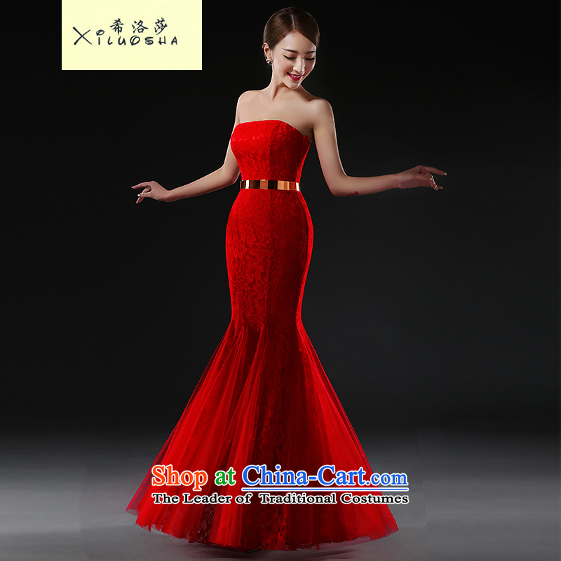 Hillo XILUOSHA Lisa (bride dresses) 2015 new stylish dress uniform bows Long Chest anointed crowsfoot Sau San wedding dress red?L