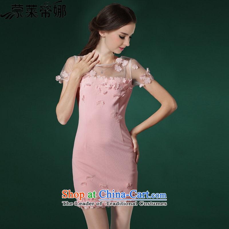 The 2015 Dili Blair Monrovia summer new high-end stereo petals manually Sau San dresses small pink dress 667�S