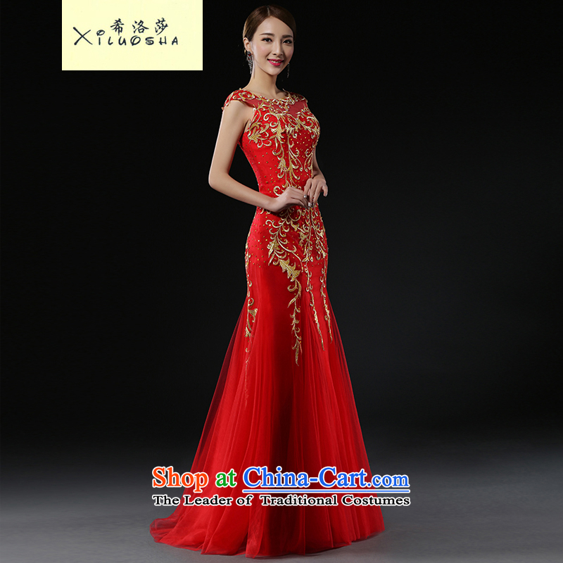 Hillo Lisa _XILUOSHA_ Bride bows services 2015 new stylish bridal dresses red wedding dress evening dress long crowsfoot Sau San red?s