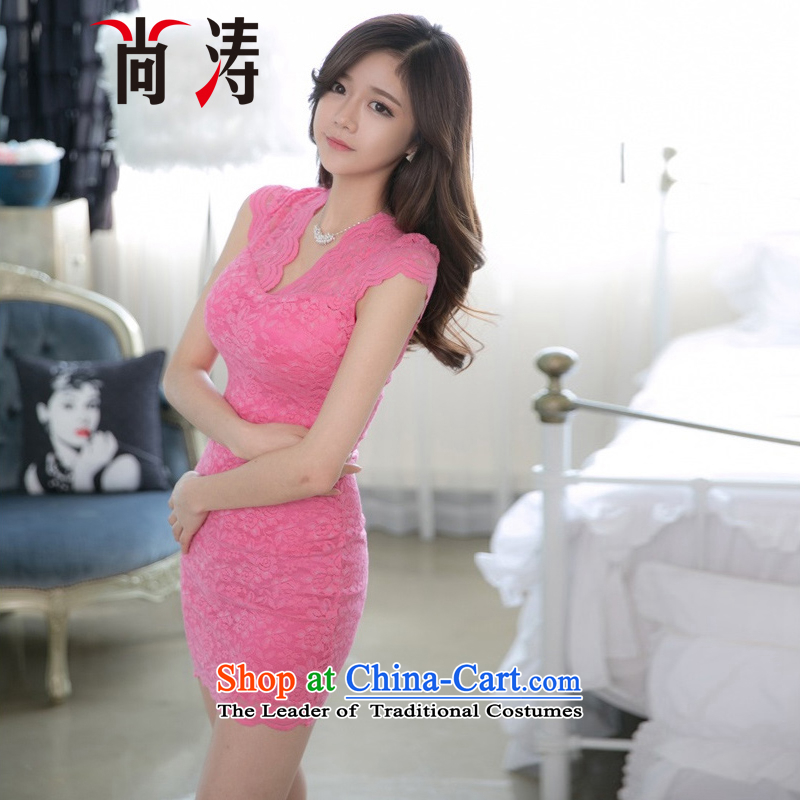 2015 Summer is skirt sweet V-neck and sexy beauty tight hook wire package and blossoms banquet Dress Short skirts and elegant ladies C0019 pink?L