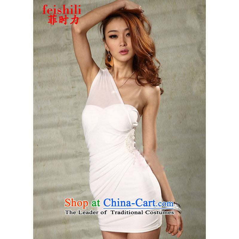 The Philippines,?2015 sexy beauty package and Lei mesh yarn Beveled Shoulder dresses XJM-5FZE082_6019 white are code