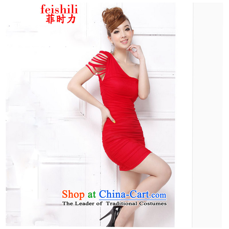 The Philippines,?2015 sexy beauty Beveled Shoulder sauna muzu replacing Miss dresses XJM-5FZE082_8836 red are code