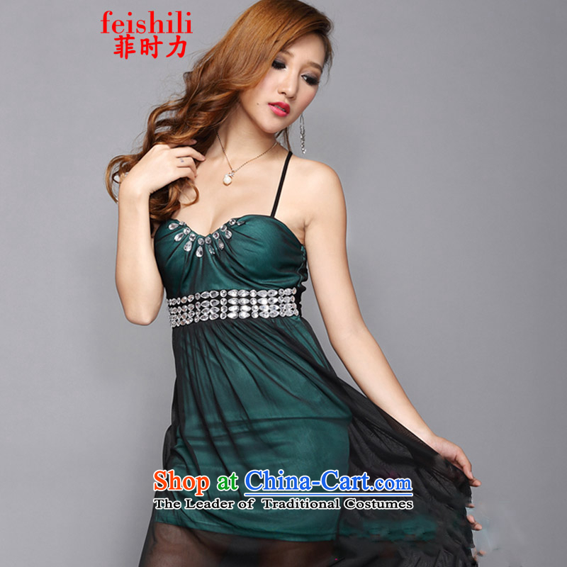 The Philippines,?2015 sexy beauty straps cross strap aristocratic dress code are green XJM-5FZE082_1335