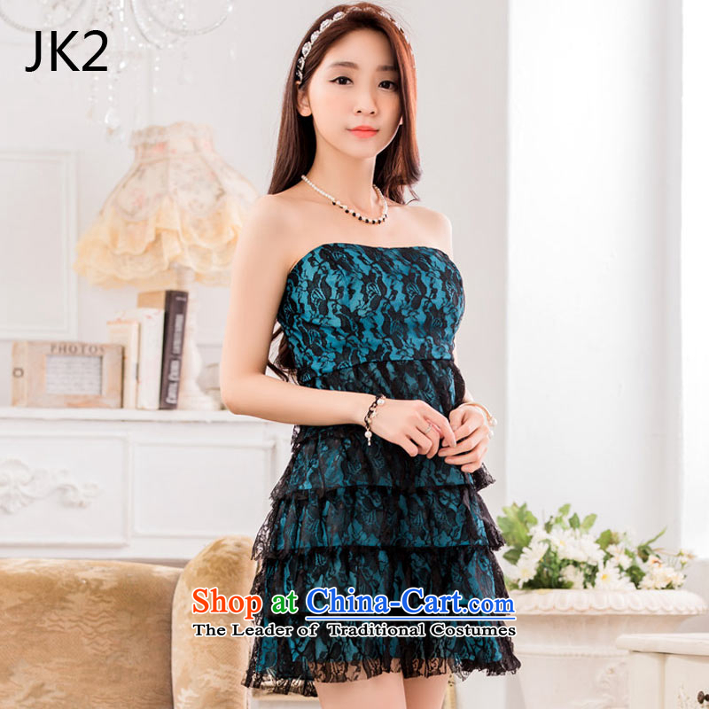 Jk2  ?sexy nightclub performers skirt anointed chest lace princess dress?9642 skirt?blue?XXL