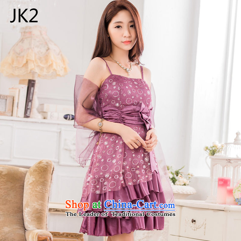 ? ?The auspices of evening performances JK2 evening dresses on chip bow tie straps _with large small dress silk scarf_ 9838?XXXL Purple