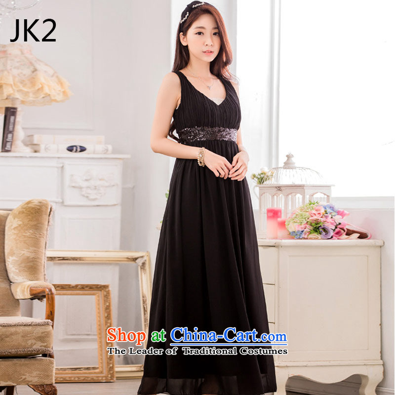 ? ?Stylish evening dresses nails JK2 pearl bare shoulders in the folds of large pressure code dress dresses??XXXL 9635 Black