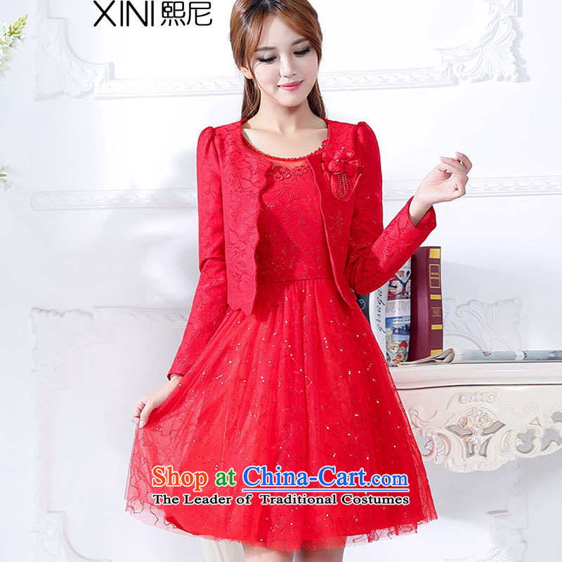 The 2015 autumn and winter-hee load new Korean fashion xl bridal dresses bows services jacket dresses two kits female red?XXXL