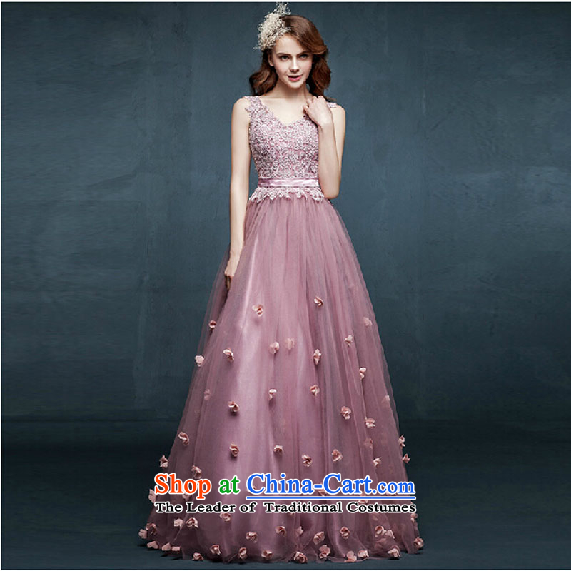 The new 2015 spring/summer long gown shoulders marriages bows to diamond jewelry bridesmaid evening dress pink?L