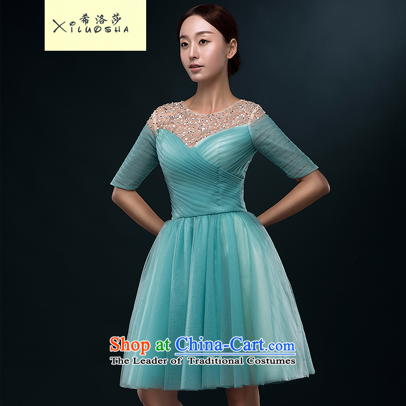 Hillo Lisa (XILUOSHA) provides the wedding-dress short of marriage in the summer of bows Service Bridal cuff dress banquet 2015 new small dress female light blue?s