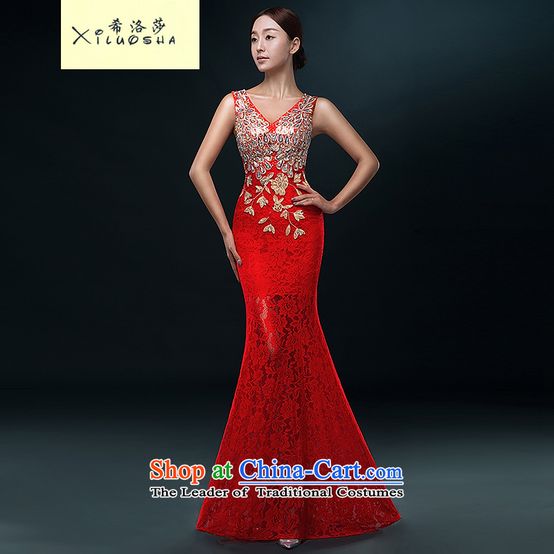 Hillo XILUOSHA Lisa (dress) banquet 2015 new summer long engraving evening lace marriages bows to Sau San crowsfoot RED M