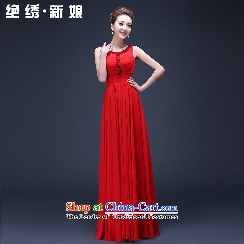 2015 Spring New Korean long large red   code shoulders marriages annual service dress drink red?M