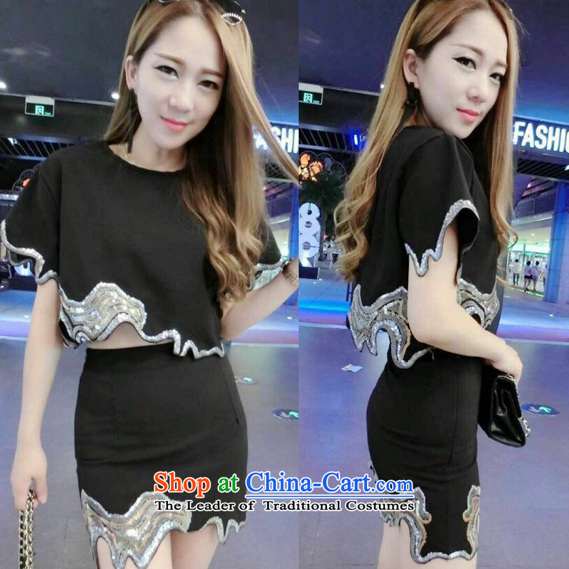 Aristocratic sexy temperament van waves on chip shirt upper body Embroidery Apron Two-piece set with 704 black are code