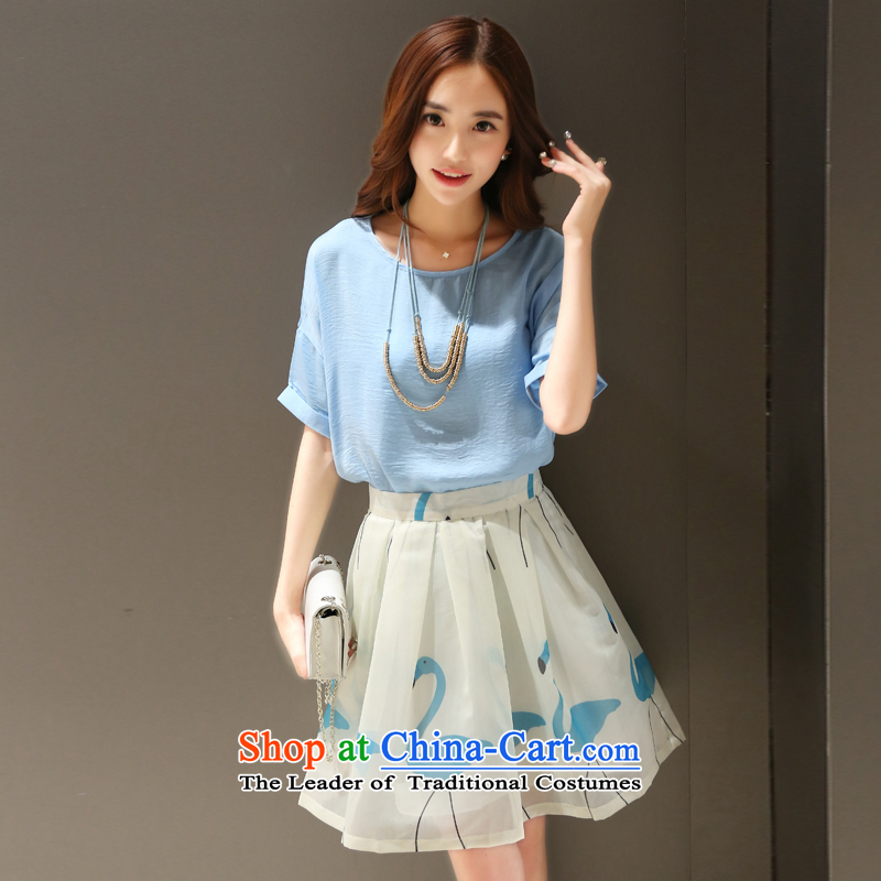 Summer Scent are small wind Korean dresses women's two kits dresses short-sleeved stamp kit 1034_ skirt Blue?M