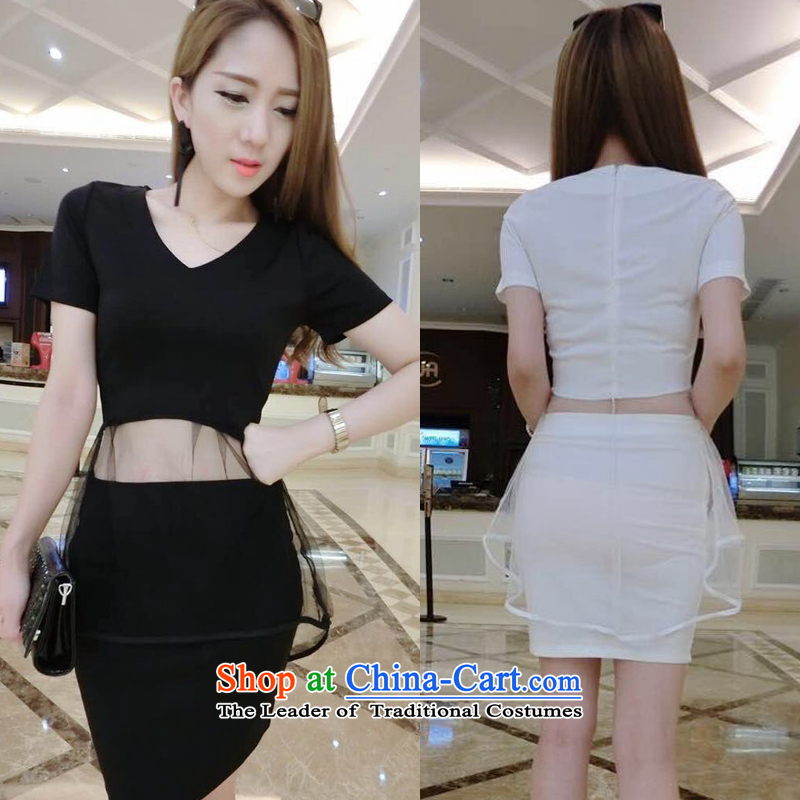 Summer sexy gauze irregular V-Neck body short skirt two kits small wind Kit 697 Heung-black�S