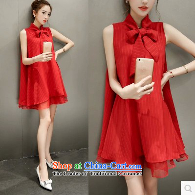 2015 new summer of European root yarn bow tie chiffon dresses Korean female relaxd A Skirt 1717 RED M