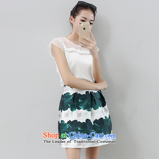 Summer new Korean version two kits Top Loin dresses short-sleeved round-neck collar kit bon bon a Word 9814 Skirt White M