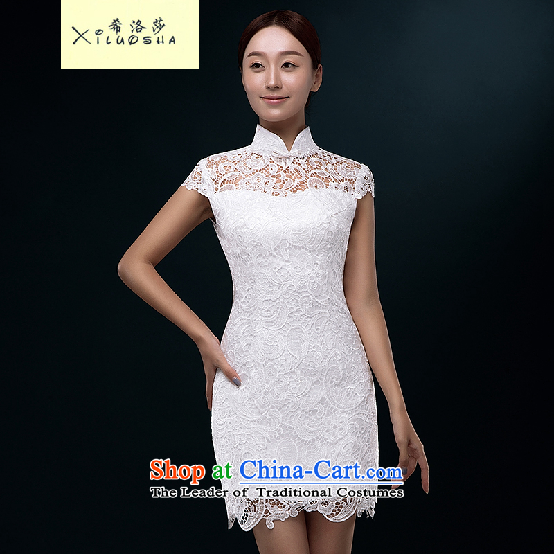 Hillo XILUOSHA Lisa (new)) 2015 summer short qipao cheongsam dress marriage lace bridal dresses retro bows Sau San evening dress white?s