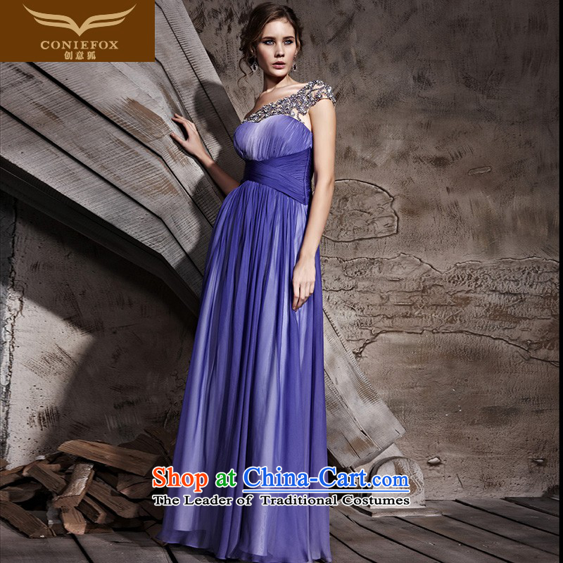 Creative Fox evening dresses shoulder noble purple jackets Beveled Shoulder and long gown stage performances dress Red Carpet Dress Suit skirt 81156 under the auspices of purple?XXL