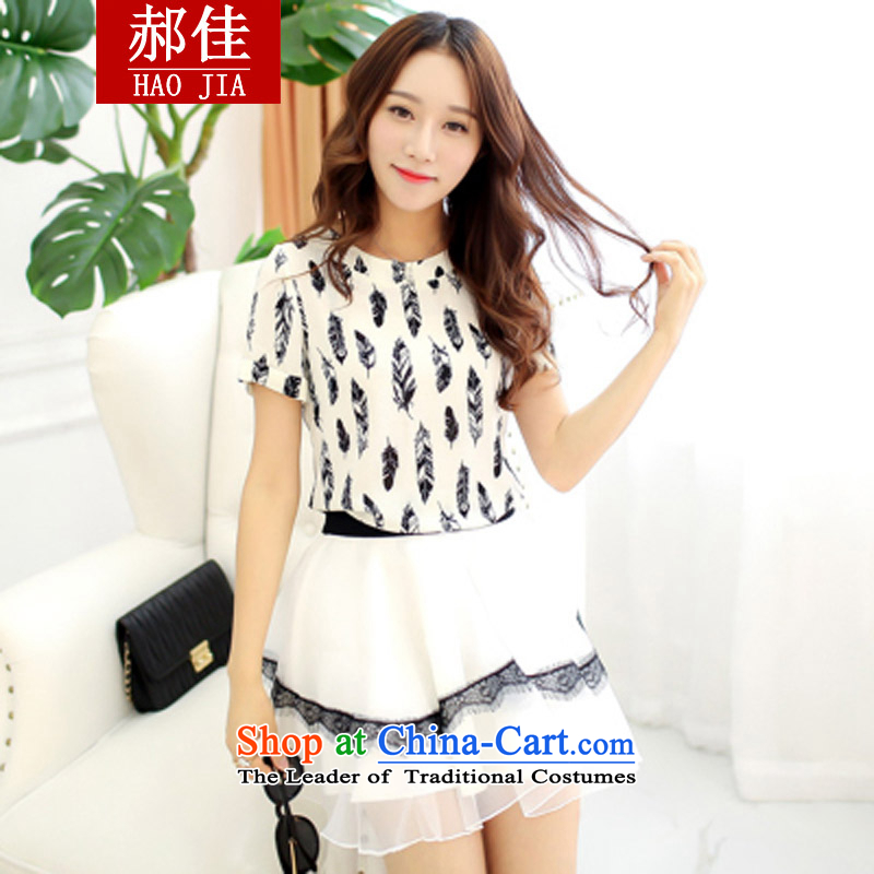 Hao Kai summer feathers stamp lace skirt two kits dress skirt Korean version thin dress kit white?S