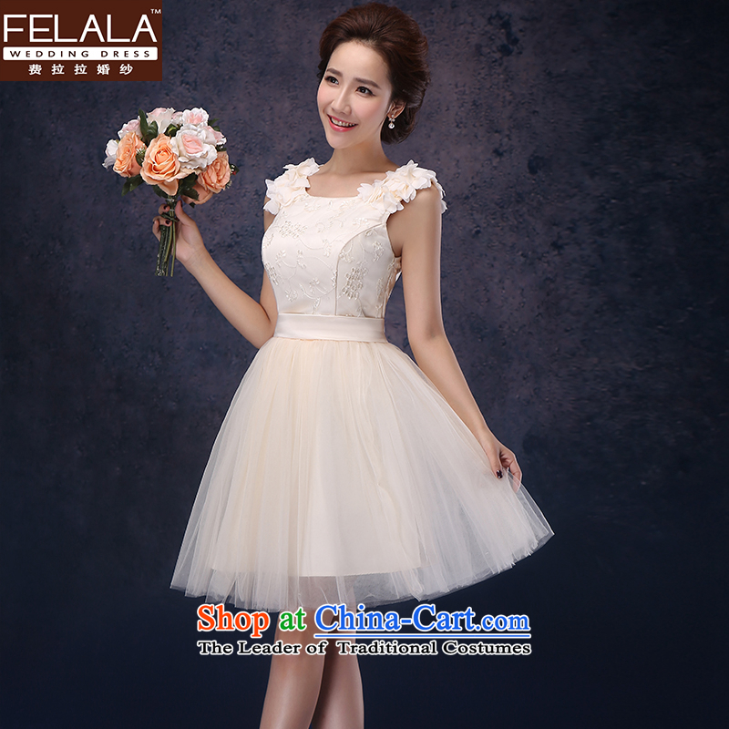 Ferrara dress 2014 new bride short of red bows to dress marriage princess bridesmaid small dress champagne color聽M聽Suzhou Shipment