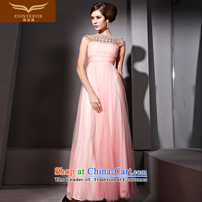 Creative Fox evening dresses pink noble water drilling and elegant banquet evening dress long gown bows services under the auspices of dress 81055 Yingbin services Pink�XXL