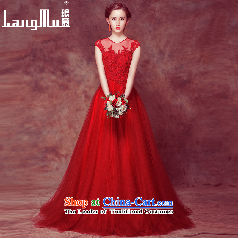 The Bride 2015 toasting champagne Luang service wedding dresses evening dresses spring red stylish shoulders wedding Sau San long red�L