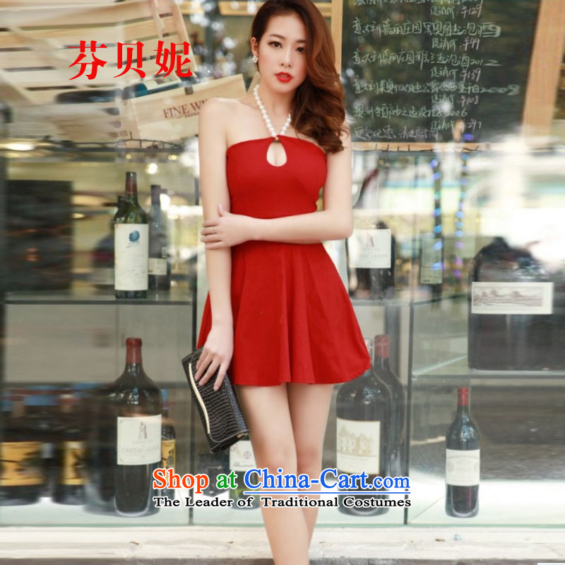 Leung Pui Connie 2015 Hot female nightclubs and sexy pearl-wrapped chest anointed chest also dresses dress small dress F5281 red are code