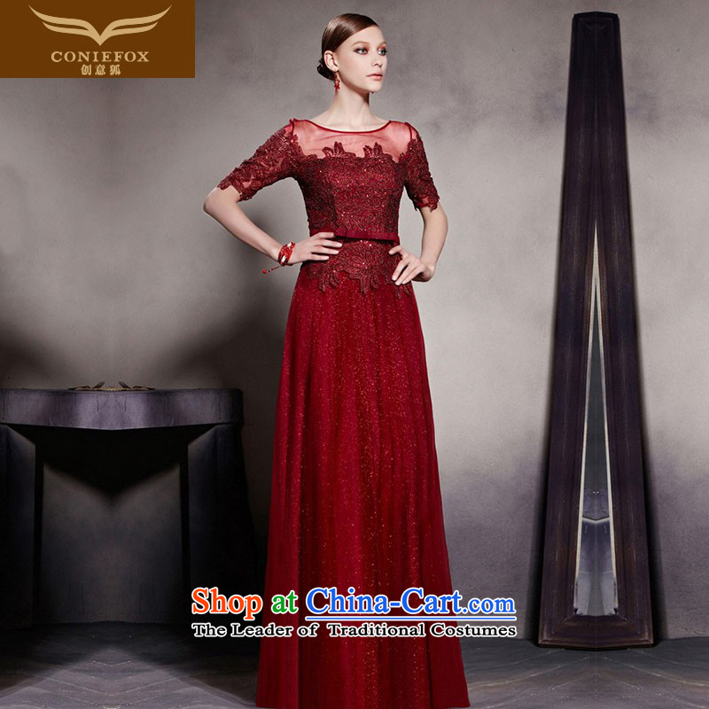 The kitsune dress creative new wine red long gown dress and banquet dinner dress Top Loin video thin bride wedding dress uniform color photo of 30521 bows�XL