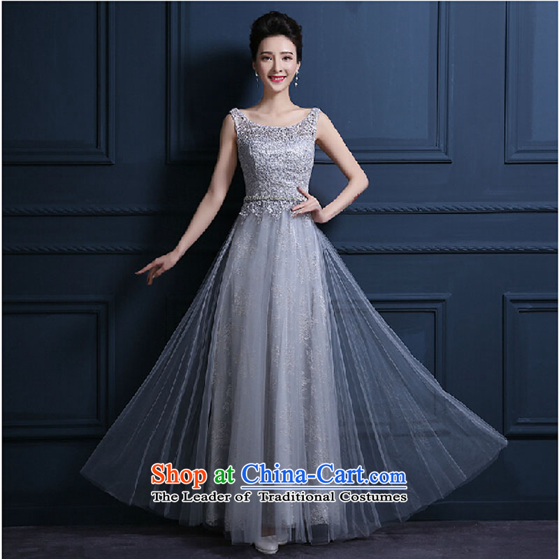 The Korean version of the new 2015 banquet will moderator dress skirt long Sau San evening dresses dresses spring and summer Female Light Gray�M
