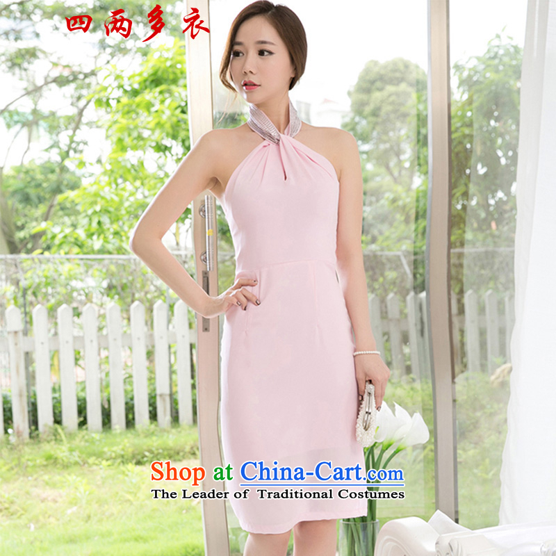 Four two-yi 2015 Summer Korean citizenry women Sau San OL sexy hang also dresses package and dress long skirt 1659 pink?L