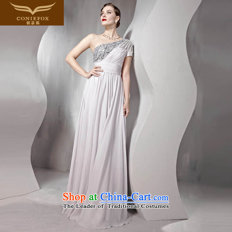 The kitsune dress creative new high-back under the auspices of dress shoulder water drilling bride wedding dress welcome drink service evening service will long skirt 56809?S Light Gray