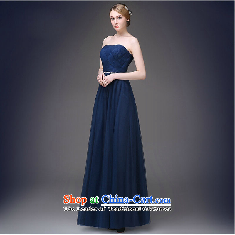 Evening dress new western korea 2015 evening dresses in spring and summer banquet bows bride moderator long gown female dark blue?L