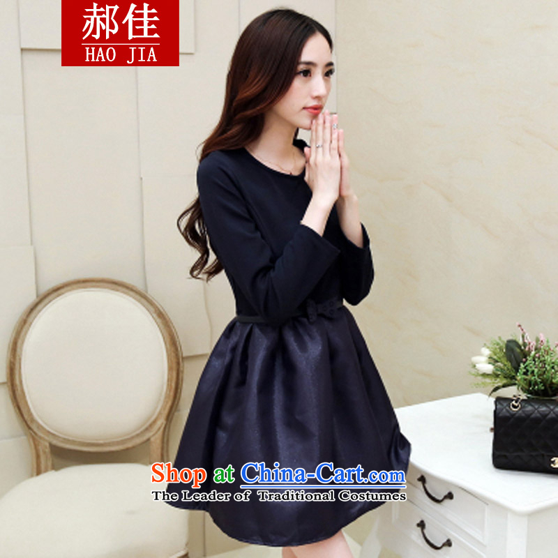 Hao Kai Chun Korean blue video thin, forming the Sau San dresses everyday dress skirt blue skirt + belt�M