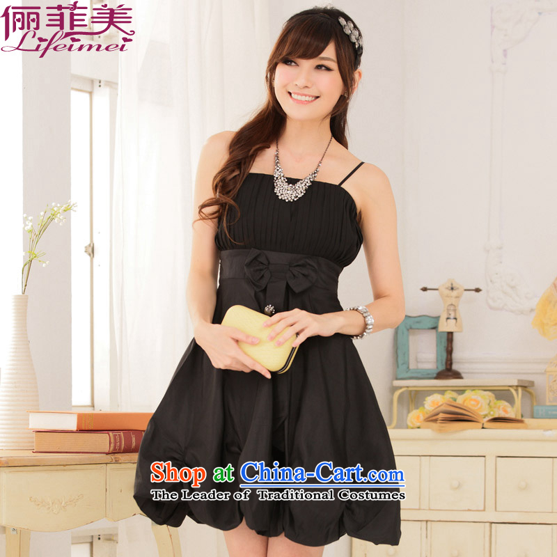158 and 2015 version of Korea summer straps irrepressible princess chest pressure folds large Foutune of lanterns skirt small dress dresses are suitable for 85-115 black code catty