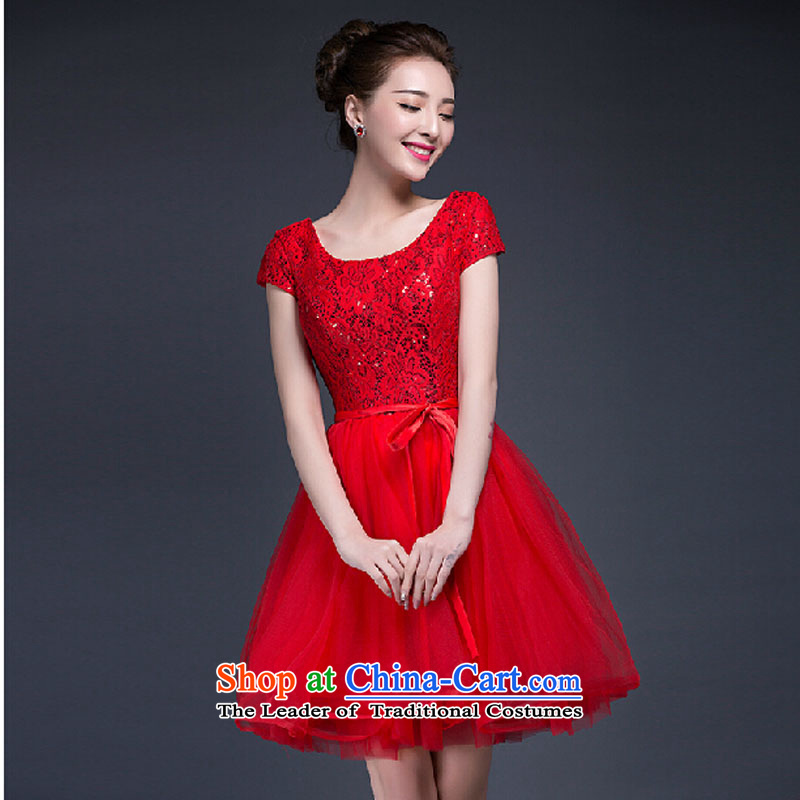 Summer 2015 new products wedding dresses Korean lace on a field shoulder graphics thin marriages bows dress red?XXL