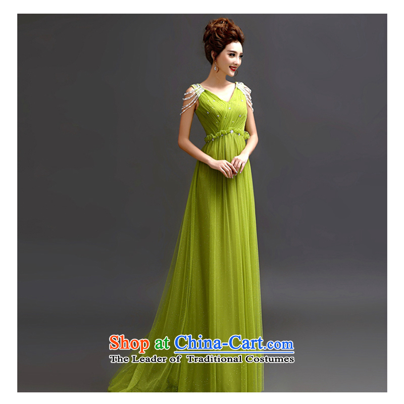 The first white into about the betrothal service green lace Deep v-neck marriages bows services wedding banquet dinner evening long evening dress grass green?L