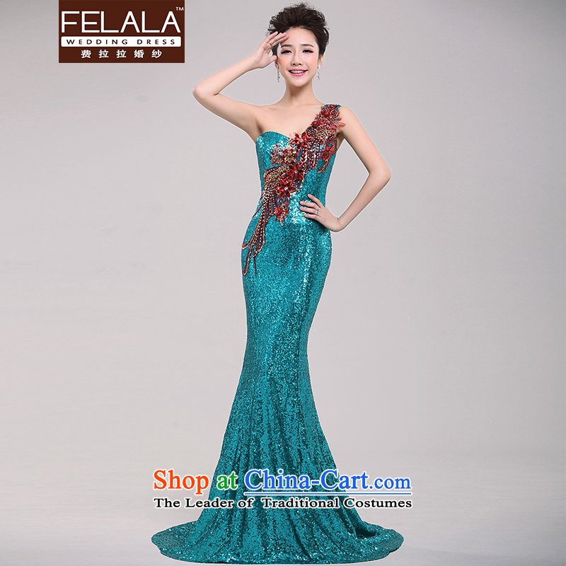 Ferrara bridal dresses word shoulder red wedding dresses multimedia drill lace crowsfoot dress bride dress cheongsam dress winter 105?Peacock Blue shoulder crowsfoot?S