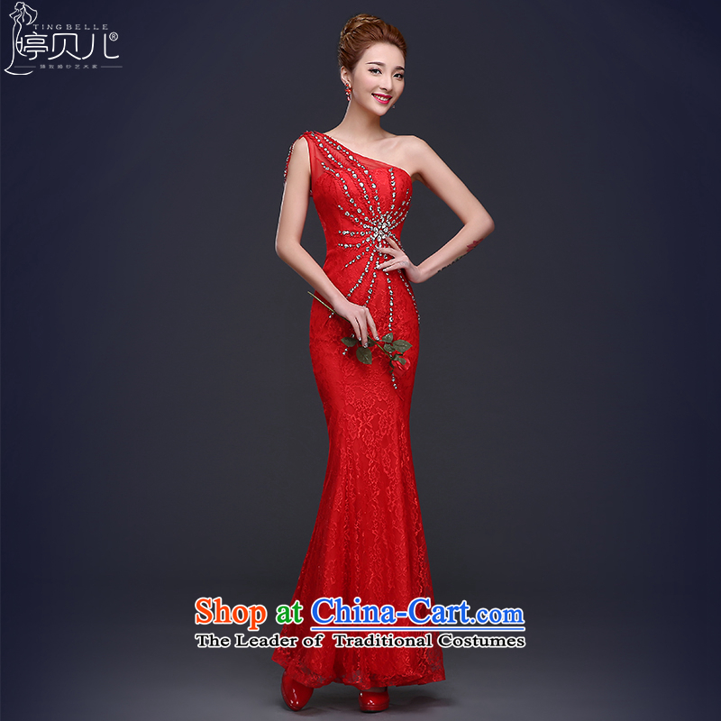 Ting Beverly Ballroom evening dresses 2015 winter is long, the new bride crowsfoot shoulder to drink red wedding dress female Red Ms. XL