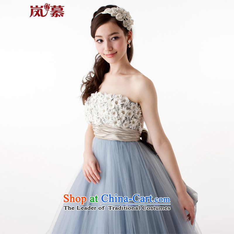 The sponsors of the 2015 New original Korean wrapped chest bon bon skirt blue-gray bride dress uniform ceremony followed other colors will please contact Customer Service�80 waist 64 chest PUERTORRICANS